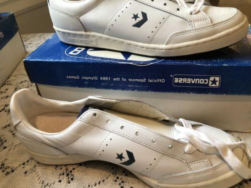 Vintage NOS CONVERSE Jimmy Connors 80s White/Navy Leather 12