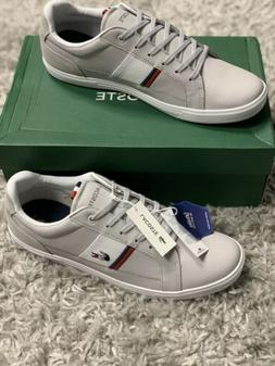 Lacoste Men's Europa Tennis Shoes NIB Light Grey/Red/Navy Me