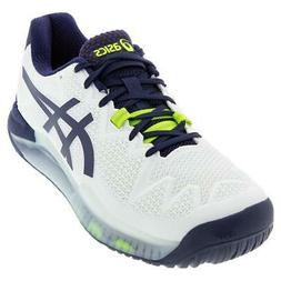 Asics Men`s GEL-Resolution 8 Tennis Shoes White and Peacoat