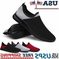 Men's Slip-On Shoes Fashion Lightweight Athletic Tennis Runn