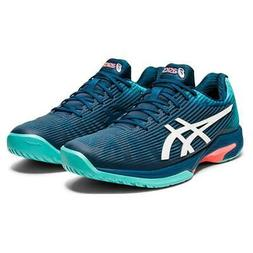 Asics Men`s Solution Speed FF Tennis Shoes Mako Blue and Whi