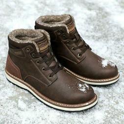 Mens Boots Winter with Fur Warm Ankle Snow Boots Synthetic L