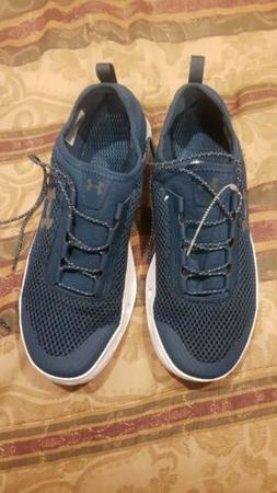 Mens Under Armour running Tennis Shoes Size 9.5 Navy Blue Wh