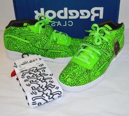 New Reebok Keith Haring Workout Mid Strap INT Neon Green/Bla