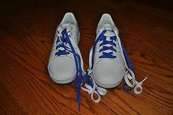 NWOB!! Mens ADIDAS White/Blue Leather Tennis Shoes Size 7.5