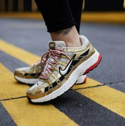 Nike P-6000 Womens 7.5 Mens 6 Gold Red Sneakers Tennis Shoes